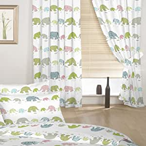 """Childrens Elephant Print Set of Curtains with Tiebacks. Colour: White with Pink, Blue, Green & Grey Elephant Design. Size: 66"""" x 54"""""""