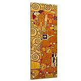 Wandbild Gustav Klimt Die Erfüllung - 30x90cm hochkant - Alte Meister Berühmte Gemälde Leinwandbild Kunstdruck Bild auf Leinwand