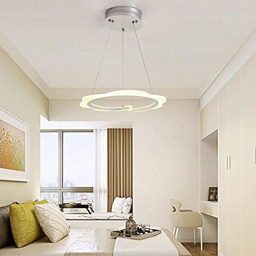 Wanson European Kronleuchter Schlafzimmer Restaurant Pendelleuchte LED Ringel Licht Acryl Creative Lichtspiele Durchmesser 20Cm Weiß Ring Energiesparlampe (Geweih Rustikale Deckenventilator)