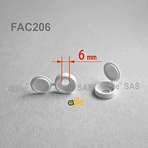 ajile - 20 pièces - Cache-vis à chapeau pour vis M6 - BLANC - FAC206-L
