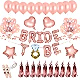 AivaToba Bride to BE Décorations Or Rose, Bride to BE Ballons,Ballons confettis pour Douche Nuptiale Bachelorette,Hen Party Decorations EVJF Ballons