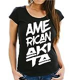 Siviwonder AMERICAN AKITA Inu USA - FONT Schrift WOMEN Girlie T-Shirt black XXL - 42