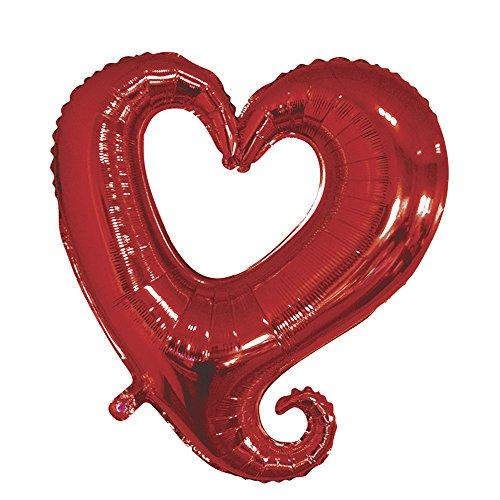 Rayher Globo Corazón, Silhouette, 91cm BTL SB 91cm 1Pieza, Polietileno, Pantalla clásico Rojo, 21x 13x 2cm, 6Unidades de Medida