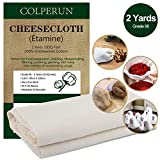 Colperun Cheesecloth, Grade 90, 18 Sq Feet, 100% Unbleached Cotton Fabric Ultra Fine Muslin Cloths for Butter, Cooking, Strainer, Baking, Hallowmas Decorations (Grade 90-2 Yards)