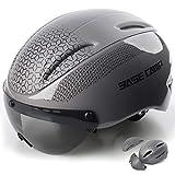 Base Camp Cycling Road Bike Helmet with Removable Shield Visor (Team Grey)