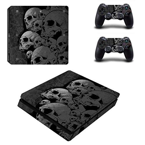 Dotbuy PS4Slim Folien für PlayStation 4Slim, Vinyl-Aufkleber + zwei Aufkleber für den Dualshock-Controller Skulls