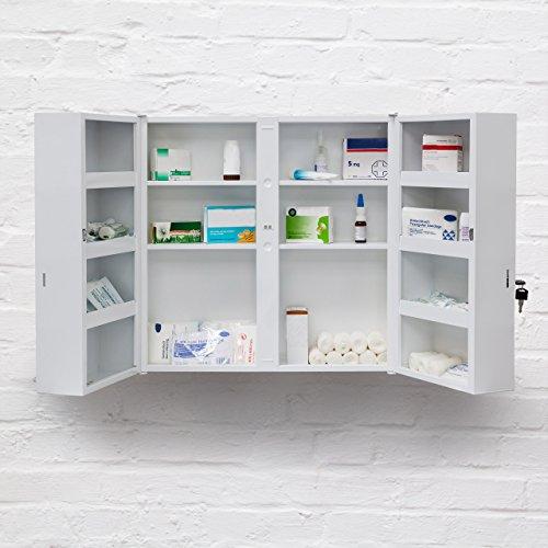 Relaxdays 10019095 Armoire A Pharmacie Acier Xxl Toilette Medicaments Salle De Bain 2 Portes Cles 11 Etageres De Rangement H X L X P 53 X 53 X 20 Cm