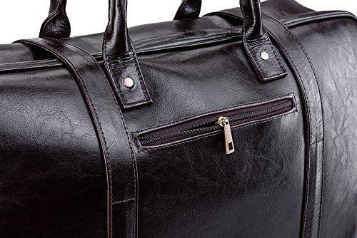Solier Echtes Leder Herren Reisetasche Sporttasche Wochenende Schulter Premium Tasche Premium SL16 (Schwarz) Braun