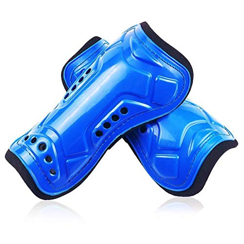 jiele Youth Kids Soccer Shin Pads, Lightweight & Breathable Child Calf Protective Gear Soccer Equipment for 6-12 Years Old Kids, Teenagers, Boys, Girls (Blue)
