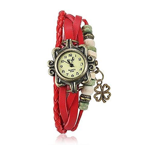 YAZILIND bijoux mode accessoires turquoise bracelet cuir Band quartz montre-bracelet (rouge)