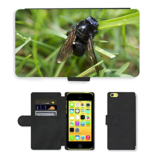 Just Mobile pour Hot Style Téléphone portable étui portefeuille en cuir PU avec fente pour carte//m00138693insectes Macro Bee Nature aile Bug//Apple iPhone 5C