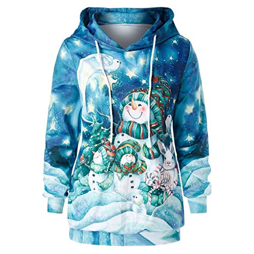 Damen Weihnachten Sweatshirt Plus Size Hoodie Christmas Cartoon Schneemann Print Pullover Top -