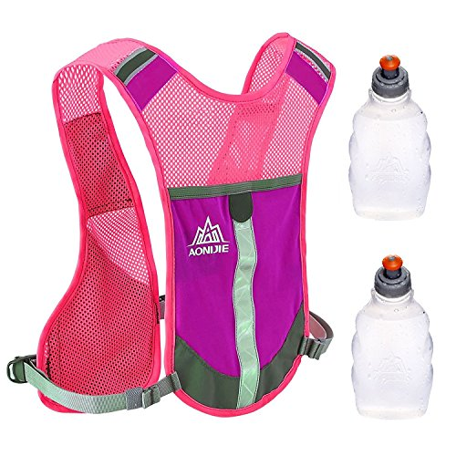 aonijie Warnweste Hydration Pack Safety Gear mit Pocket + 2 Wasser Tasche rosarot