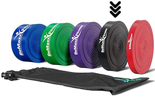 Bande elastiche di resistenza + programma di allenamento – fasce elastiche aiuto per pull–up | per allenamento, allungamento, ginnastica | crossfit, yoga, pilates | versatili, duraturi, resistenti