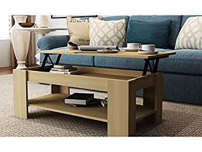Caspian Lift Top Coffee Table with Storage & Shelf - Espresso, Walnut, Oak, White (Oak)