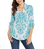 Shmily Girl Damen V Ausschnitt Casual Shirts Frauen Druck Muster Bluse Tops (Grün, XL/EU 44-46)