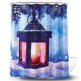 YLXINGMU 3D Duschvorhang Badvorhänge Lichter Im Schnee Wasserdicht Und Schimmelfest Polyestermaterial. 150Cm(W)×180Cm(H)