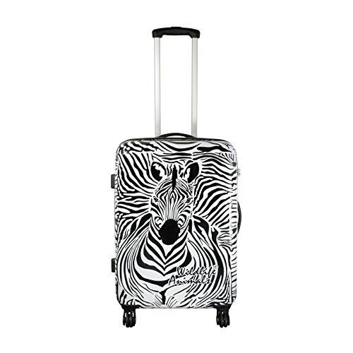 Trendyshop365 - Polycarbonat Reisekoffer Trolley - Zebra Hartschalenkoffer 64 Liter Volumen - Koffer Hartschale in M