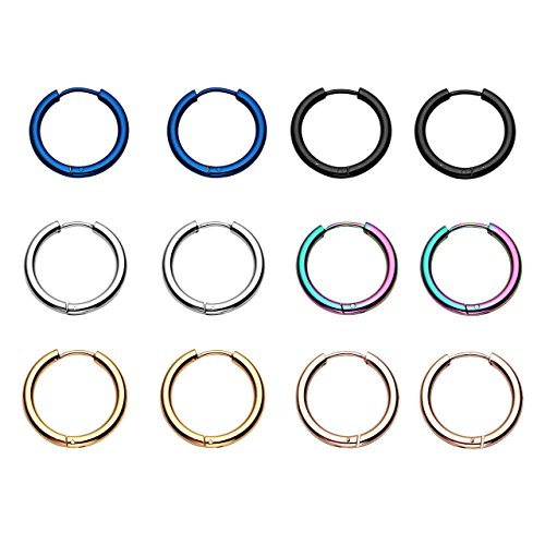 PiercingJ - 12PCS Mixtes Boucles d'oreilles Tragus Cartilage Anneaux a Charniere Cercle Rond Creole Acier Inoxydable Punk Bijoux de Corps 8mm - 20mm 16mm
