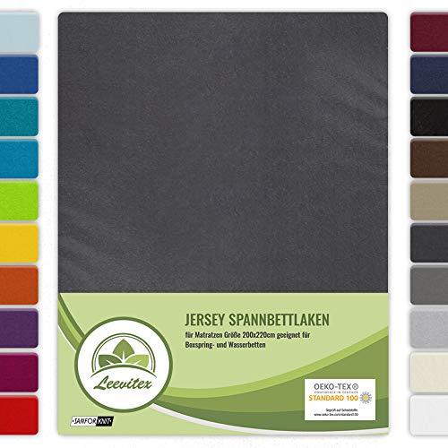 leevitex Drap-housse coloré, pour lit à eau et lit boxspring, 200 x 220 cm, pour une épaisseur de 40 cm, 100 % jersey coton, environ 160 g/m², Coton, anthracite/gris, 200 x 220 cm