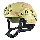 Yxian Cascos Airsoft Protectores, Casco táctico Mich 2001 versión de acción con Montaje NVG y rieles Laterales para Juegos Airsoft Paintball CS al Aire Libre,C
