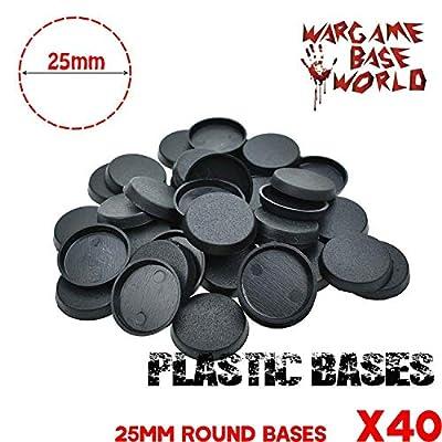 Ficony Plastic Bases Rondes pour Figurines de Jeux et Autres Wargames 40PCS 25mm Plastic
