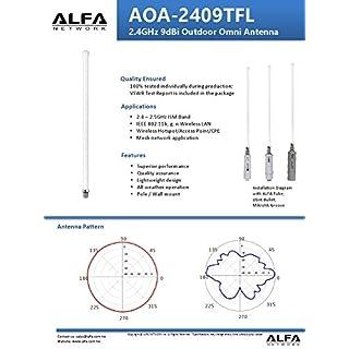 Alfa Network OMNI Outdoor EXTERNAL 2,4G 9 dBi ALFA Network AOA-2409TFL N Type Female (Fits Tube U series) …