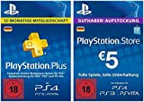 PS Plus Mitgliedschaft 12 Monate + 5 EUR PlayStation Store Guthaben-Aufstockung Gratis [PS4 Download Code - deutsches Konto]