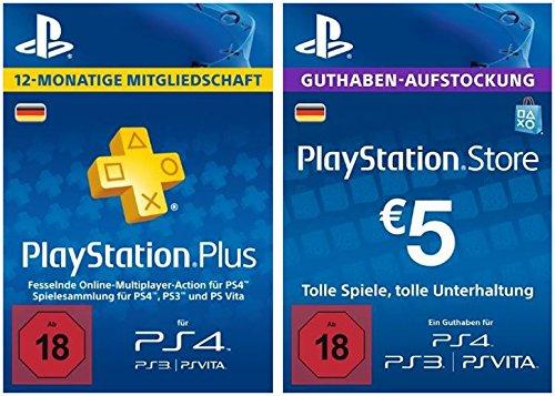 PS Plus Mitgliedschaft 12 Monate + 5 EUR PlayStation Store Guthaben-Aufstockung Gratis [PS4 Download Code - deutsches Konto] (Playstation Plus-online)
