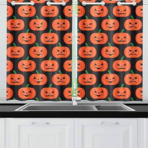 (JIUCHUAN Halloween Kürbis Happy Kitchen Vorhänge Fenster Vorhangebenen für Café, Bad, Wäscherei, Wohnzimmer Schlafzimmer 26 X 39 Zoll 2 Stück)