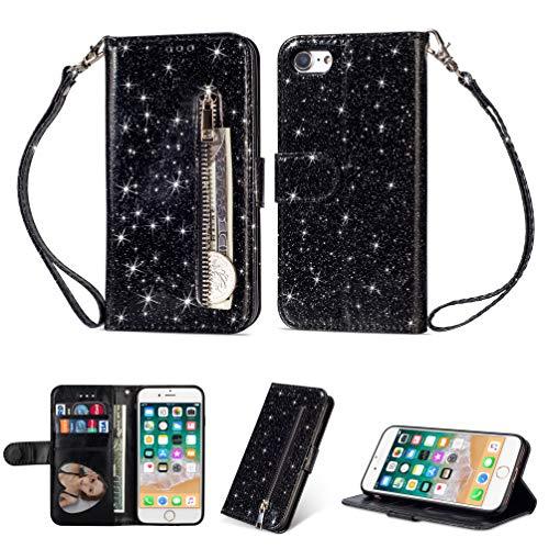 Iphone Horizontal Fall (Artfeel Reißverschluss Brieftasche Hülle für iPhone 7 Plus, iPhone 8 Plus Bling Glitzer Leder Handyhülle mit Kartenhalter,Flip Magnetverschluss Stand Schutzhülle mit Tasche und Handschlaufe-Schwarz)