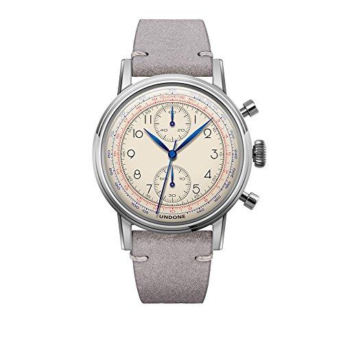 Undone 'Urban Killy' Chronograph Hybrid Quarz Mechanisch Edelstahl Weib Leder Grau Vintage Herren Uhr