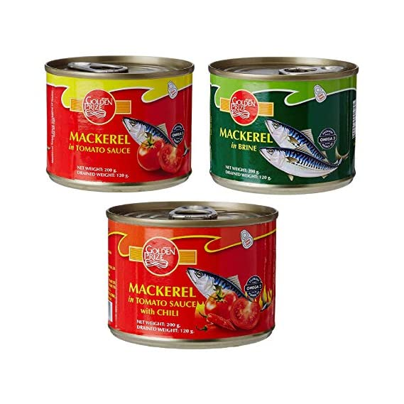Golden Prize Combo - 1 x Mackerel in Tomato Sauce, Mackerel in Brine and Mackerel in Tomato Sauce W/Chili (3 x 200gms Each)