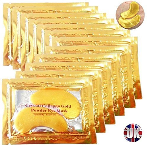 Premium-Crystal Gold Collagen EYE Mask Crystal Bio Anti Falten Feuchtigkeit Haut Care Patch Pad mit Lavendelöl, Kollagen, Haluronic Säure (x 5 Collagen-Masken)