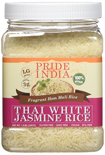 Pride Of India - Thai White Jasmine Rice - 1.5 lbs (680 gm) Jar - Supreme Quality Thai HOM Mali - Distinctive Aroma & Sweet Fragrance - Best Used in Stir Fries, Soups or Grilled Food.