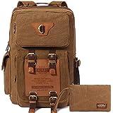 KAUKKO Kaki Vintage portable Cuir Canvas pratique Computer Backpack Sac à dos avec une grande capacitéet et Un de petit sac
