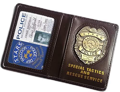 Redfield Chris Kostüm - Resident Evil Biohazard S.T.A.R.S RPD Chris Redfield Ausweis-& Kartenhüllen Brieftasche | Leon Jill Wesker Kostüm Cosplay