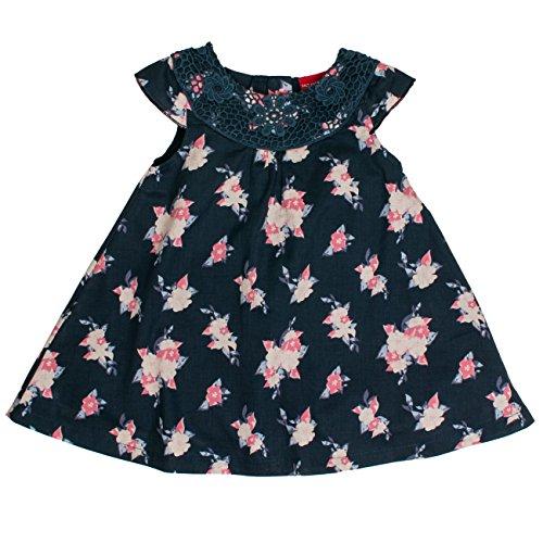 SALT AND PEPPER Baby-Mädchen Kleid B Dress Blau mit Blumen Mehrfarbig (Original 099), 68