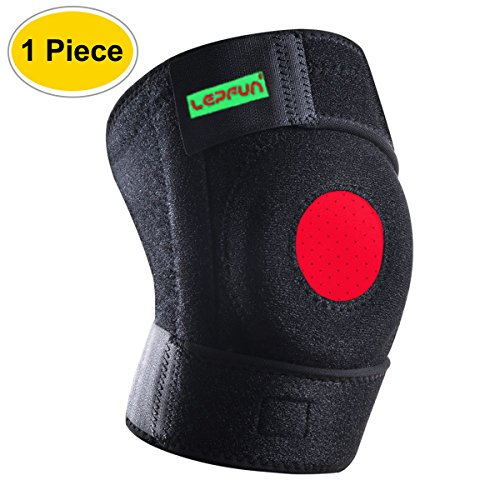 Lepfun s5200 neoprene ginocchiera completamente regolabile protector ginocchio traspirante asciutto, aperto patella ginocchiere per sollievo dal dolore da menisco, artrite e acl, calcio sport