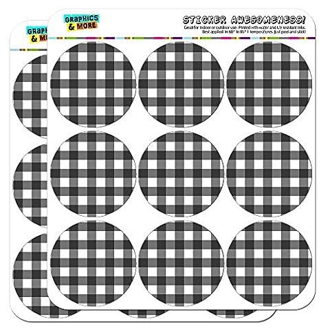 Noir Vichy de pique-nique d'anniversaire Western 5cm (5,1cm) Stickers Scrapbooking
