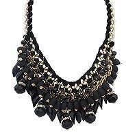 MJARTORIA Women Necklace Bead Tassel Pendant Waterdrop Woven Jewelry for Decoration 60cm Black
