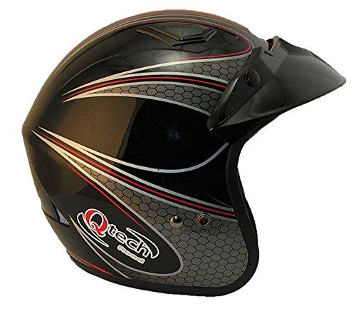 Qtech - Casco aperto per motocicletta scooter NERO/BIANCO/rosso trials - Nero - L (59-60 cm)