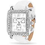 Bling Jewelry Square Deco Style White Leather Strap Stainless Steel Back Watch