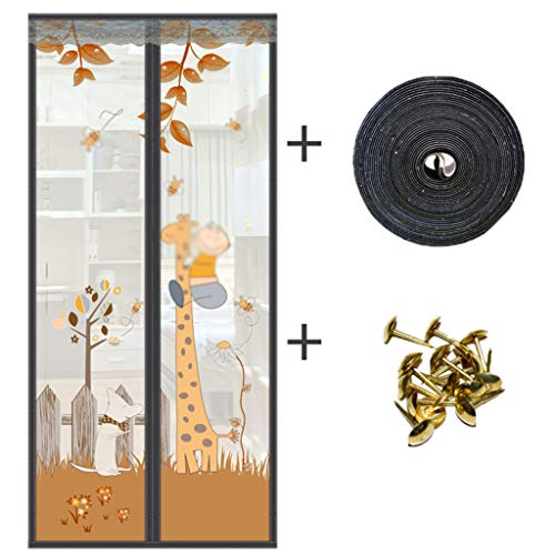 BYCDD TüRvorhang Magnetic, verstärkt Insektenschutz Vorhang Schließt automatisch Mesh Vorhang Lassen Sie frische Luft herein,Coffee_34x84in/85x210CM