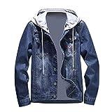 Manalian Herren Denim Jacke Blau Taschen Pullover Lange Ärmel Sweatshirt Tops Bluse Outwear Mantel für Männer