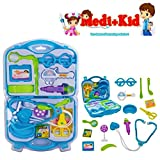 #9: Happy GiftMart Doctor Set with 15 Pcs Including Box Playset for Kids and Toddlers Baby (Blue)