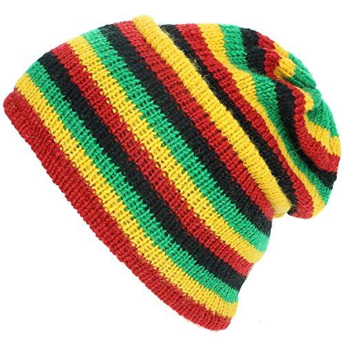 Frauen Bob Kostüm Marley - LOUDelephant Wolle Strick Grat Mütze mit Fleecefutter - Rasta, One Size
