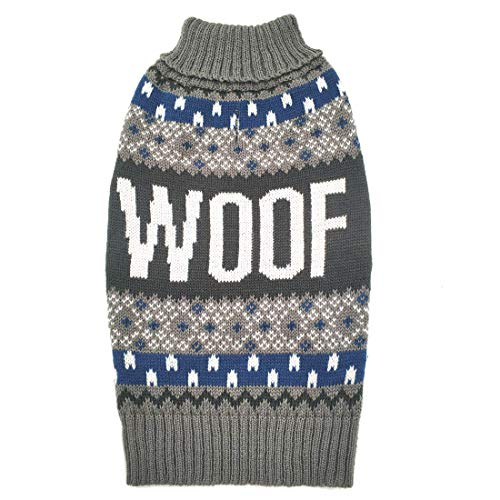 azuza Dog Pullover Pullover Knit Rentier Schneeflocke Fall Winter Woof Pattern Dog Kostüme, Large (Chest 18
