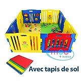 MCC Parc pour bébés à 8 côtés avec panneau d'activités & tapis de sol