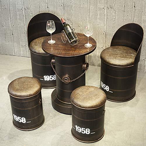 Tabouret De Rangement Table Multifonctionnel Chaise Combinaison Créatif Fer Forgé Cuir Ancien Tabouret De Baril De Pétrole,1*Table(A)+2*Chair+2*Armchair
